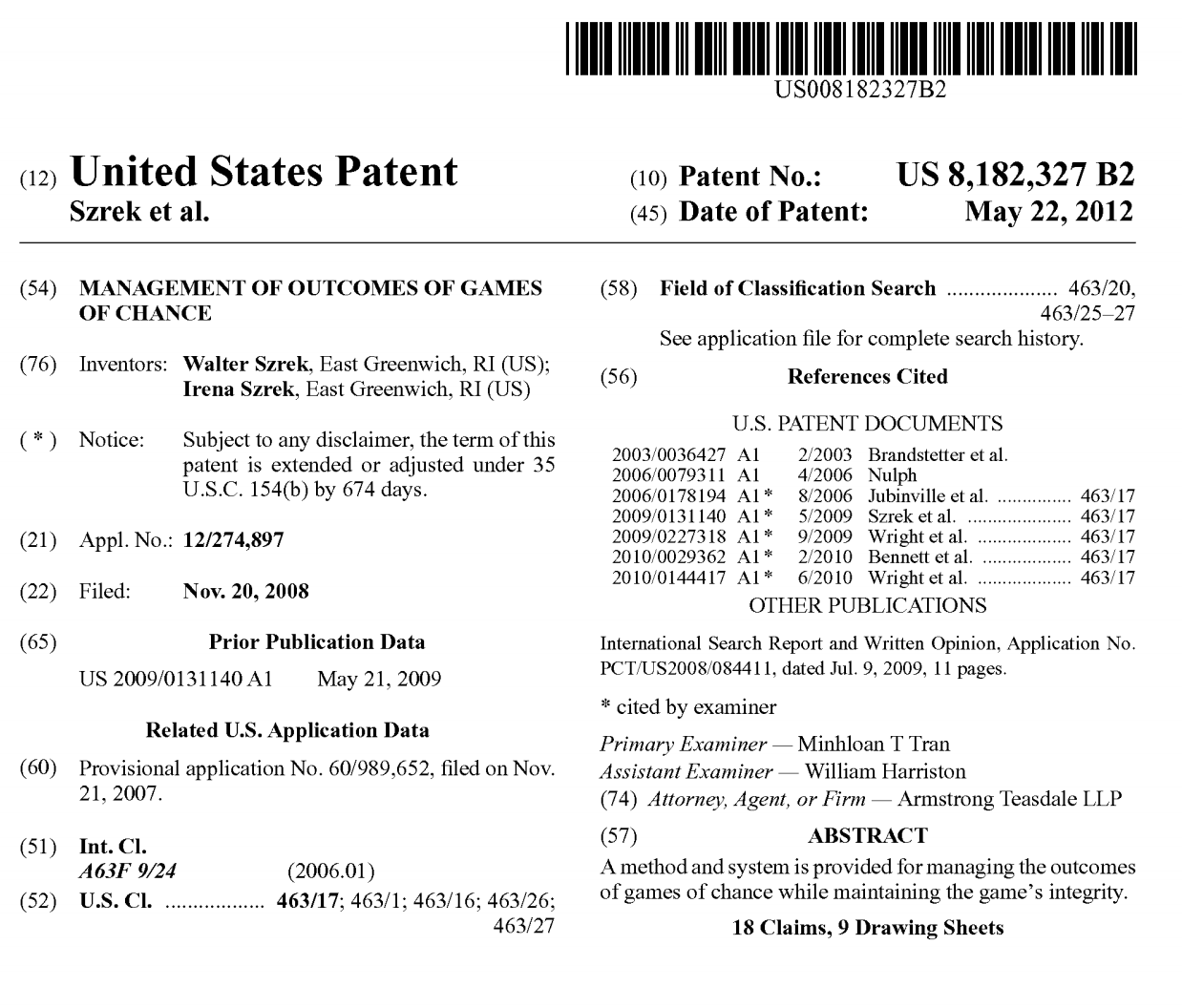 Szrek's Patent manages the outcomes of games of chance with transparency and integrity