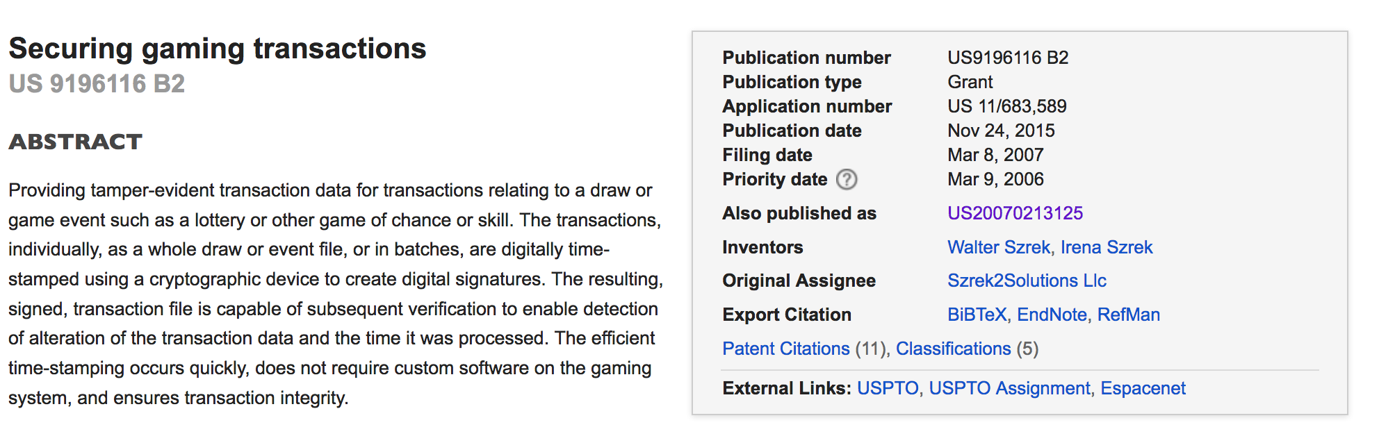 Szrek's 2015 patent